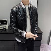 19冬季韩版修身格子棉棉衣 男士短款薄夹克棉袄保暖外套 黑色