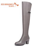 红蜻蜓冬季新款长靴子女过膝加绒方头粗跟真皮显瘦高筒靴马丁靴女靴