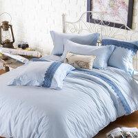 绚典家纺 全棉素色法式蕾丝四件套六件套 纯棉纯色床单被套多件套 床上用品