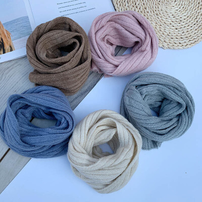 婴儿童纯色围巾韩版小童男宝宝围脖套冬季薄女童针织毛线新款1-3