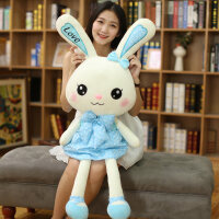 兔子毛绒玩具公仔软萌玩偶可爱布娃娃萌韩国女生圣诞节礼女友懒人 蓝色穿裙兔子 1.7米