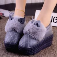 棉拖鞋女冬季包跟居家鞋PU皮面水滑厚底高跟保暖加�q毛毛拖