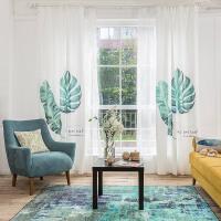 简约现代北欧植物窗帘遮光棉麻 客厅卧室小清新田园窗帘成品定制q