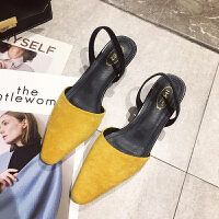 chic凉鞋女中跟穆勒粗跟白色包头女鞋新款女夏半拖高跟鞋