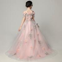 女童晚礼服公主裙儿童纱花童蓬蓬裙粉色钢琴演出服春