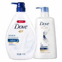 多芬沐浴洗发套装 深层盈润沐浴乳1千克+密集滋养洗发乳650ml