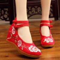 2018春夏新款老北京布鞋女坡跟民族风绣花鞋内增高跟汉服古装鞋子 红色 34