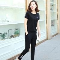 休闲套装女2019夏装新款韩版宽松时尚运动服学生短袖T恤两件套潮