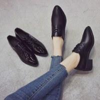 户外小皮鞋女英伦风韩版百搭尖头粗跟学院风女鞋单鞋
