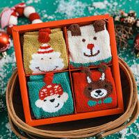 【四双装】儿童袜 男女童加厚卡通圣诞袜2020秋冬新款中大童半边绒中筒袜四双礼盒装
