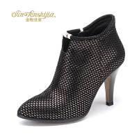 红蜻蜓旗下品牌金粉世家女鞋秋冬休闲鞋鞋子女单鞋高跟鞋JFB1008