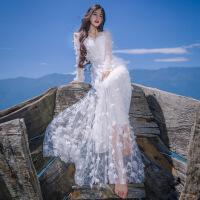 沙滩裙女海边度假超仙长裙网纱很仙的连衣裙2019夏季新款网纱海南三亚海边度假沙滩裙长裙子超仙 白色