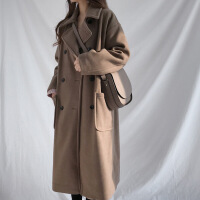 2019新款�n版反季�@瘦�L款毛呢子外套大衣冬季加棉厚�W生�W院�L女士潮