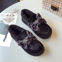 BANGDE韩版季新品绒面豹纹羊羔毛毛鞋加绒乐福鞋棉瓢鞋船鞋懒人女鞋潮