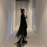 2019新款赫本风黑色高领毛衣连衣裙两件套秋冬新款超仙网纱裙子中长款套装 黑色(上衣+网纱裙子)