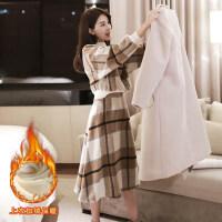 新年特惠毛呢a字裙套装两件套秋冬季中长款小个子洋气打底连衣裙内搭冬裙