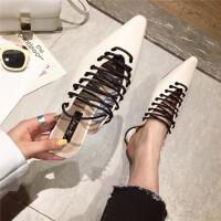 2019复古时尚尖头穆勒鞋女低跟包头半拖鞋系带名媛凉拖外穿女鞋潮
