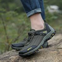 透气男士网布鸟巢鞋户外登山鞋套脚低帮耐磨越野徒步男鞋