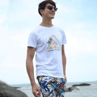 男士短袖t恤休闲纯白情侣沙滩T恤纯棉印花半袖打底衫宽松圆领上衣