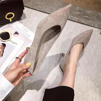 2019春季时尚休闲简约舒适复古女士女鞋百搭细跟尖头浅口新款女鞋