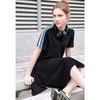 【券后预估价:132元】Amii极简小清新学生少女连衣裙夏季新牛油果绿条纹拼领鱼尾裙