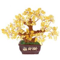 黄水晶招财树 水晶摆件 发财树 摇钱树水晶盆景