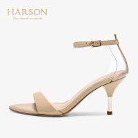 【秋冬新款 限时1折起】哈森 2019春季新品女鞋 优雅酒杯跟一字带露趾高跟凉鞋 HM91417