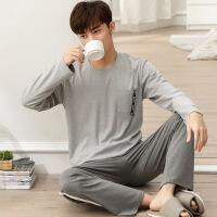 热卖 男士睡衣长袖纯棉冬青年中年秋冬款可外穿全棉冬季家居服套装