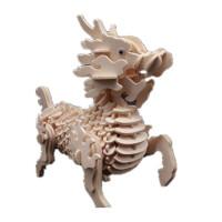 木质拼图立体3d模型仿真大动物手工制作拼装积木制玩具 麒麟 难度(中)