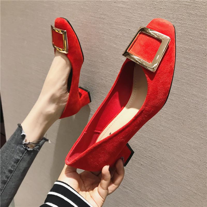 2019春季新款女鞋子金属搭扣低帮鞋粗跟中跟女鞋韩版时尚通勤百搭