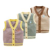 婴儿马甲春秋款宝宝毛线针织背心男小童坎肩薄棉条纹开衫6 12个月