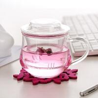 耐热玻璃杯三件式花茶杯创意茶杯 300ML带盖玻璃小草帽水杯小兰雅茶杯办公杯 玻璃盖子水杯杯子