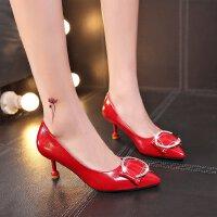 红色婚鞋高跟鞋女尖头方扣水钻细跟中跟5cm优雅单鞋皮鞋工作职业