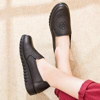 妈妈鞋真皮软底舒适平底单鞋中老年女鞋防滑中年老鞋女奶奶秋 黑色