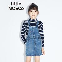 littlemoco秋季新品女童裙子丹宁激光烧印logo可调整背带牛仔裙