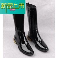 新品上市冬季英伦真皮加绒高筒漆皮长靴潮流男靴子韩版长筒靴深筒骑士靴男