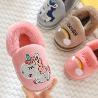 儿童棉拖鞋男女小孩宝宝包跟秋冬季可爱卡通室内加厚保暖棉鞋