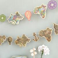 孩派 韩版环游 世界彩色复古地图彩旗 纸彩旗 派对装饰拉花