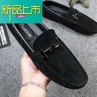 新品上市新款潮流豆豆鞋男冬季韩版休闲真皮磨砂社会皮鞋一脚蹬懒人黑19