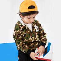 迪士尼童装2019新款儿童上衣宝宝男童时尚满印连帽外套