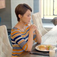 潮牌热卖人间至味是清欢林月罗子君林鹏明星同款条纹彩色针织连衣裙中长款毛衣女 图片色