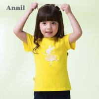 【300-200】安奈儿童装女小童短袖T恤2019夏装新款儿童甜美可爱圆领打底衫潮