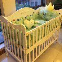 环保水性漆实木欧式婴儿床拼接大床多功能实木摇篮床宝宝床bb床