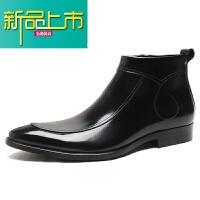 新品上市英伦靴漆皮男士高帮鞋马丁靴男真皮潮流短靴尖头皮鞋男靴子
