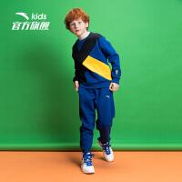 安踏(ANTA)儿童童装男中大童拼接卫衣长裤针织运动套A35938712