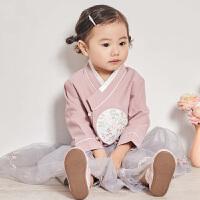 davebella戴维贝拉女童汉服宝宝洋气春新款中国风裙套装DBJ12882