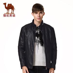 骆驼男装 新品冬款青年修身立领PU仿皮休闲纯色长袖外套皮衣男