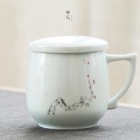 影青茶杯陶瓷杯子 带盖过滤马克杯 个人杯景德镇办公杯喝茶泡茶杯