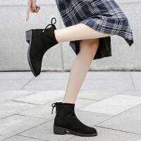 小跟短靴女秋冬新款韩版学生平底简约大码短筒切尔西靴女