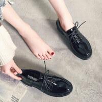 小皮鞋女大码女鞋2018秋季英伦粗跟单鞋女布洛克ulzzang原宿软妹 630-1 黑色-漆皮
